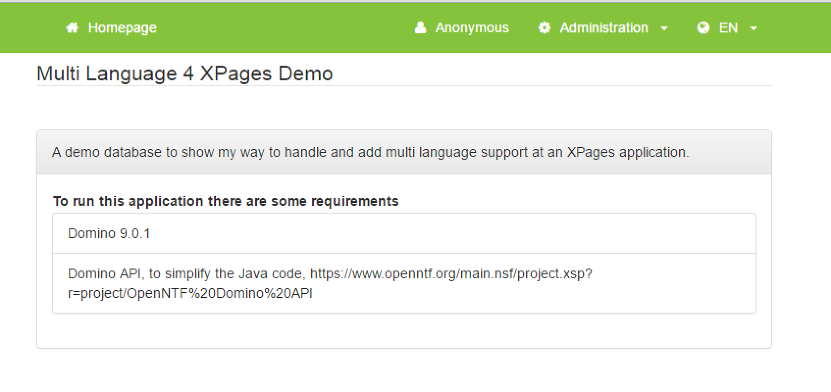 Multi language 4 Xpages demo